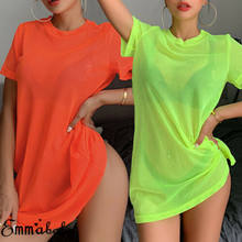 2019 New Women's Sheer Mesh See through Bikini Cover Up Swimwear Swimsuit Bathing Summer Beach Fashion Dress(China)
