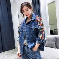 Denim jacket women and embroidery beading pearl sequins jeans coat oversize jacket 2019 autumn runway fashion female top clothes