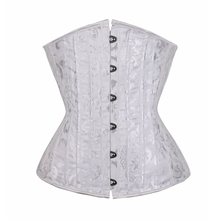 White Corset 24 Sprial Steel Boned Sexy Lingerie Jacquard Lace up Back Waist Trainer Top T-back Plus Size S-6XL Corselet