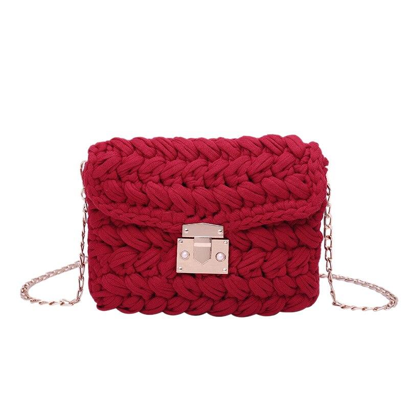New Fashion Hot Ins Woven Knitting Handbag Women Flaps Messenger Bag Cotton Fabric Handmade Plait Cover Shoulder Bag Red