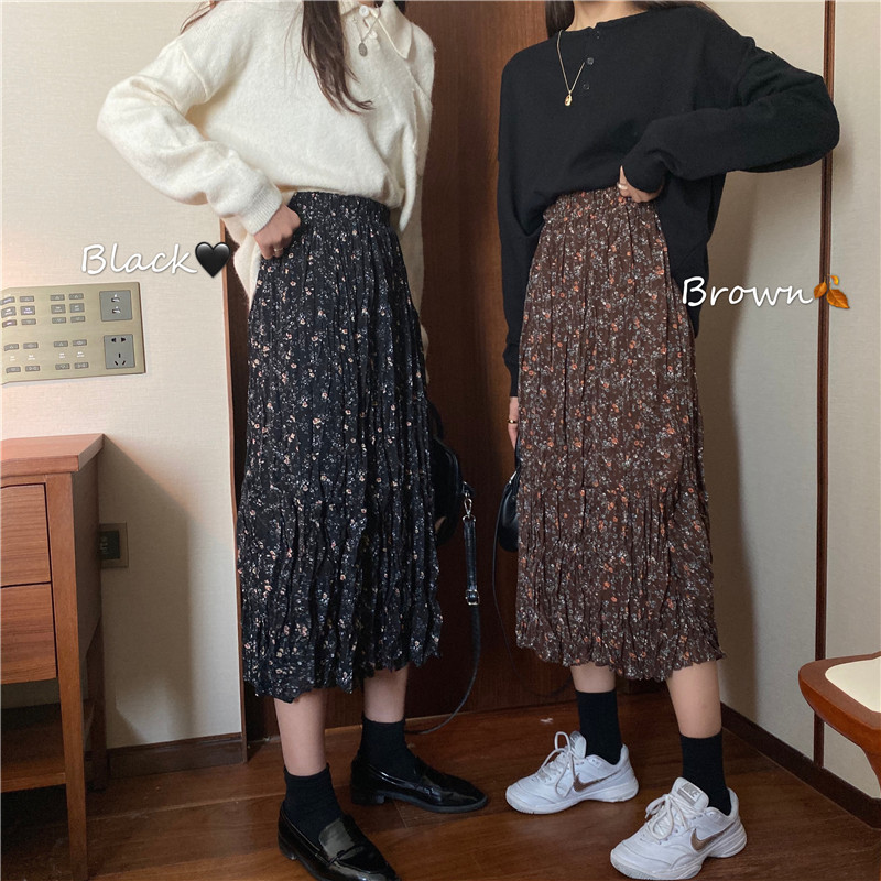 Vintage Autumn Floral Print Ruffle Pleated Long Skirts Winter Women Korean Skirt Streetwear Drawstring Elastic Waist Midi Skirt