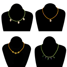 4 Pcs/ Set Summer Beach Handmade Beads Shell Necklace Bohemian Face Colorful Clavicle Chain Jewelry