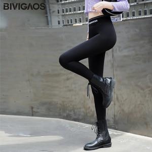 Image 2 - Bivigaos 2019 여성 가을 새로운 패션 높은 허리 편지 블랙 레깅스 스키니 슬림 탄성 연필 바지 스포츠 섹시한 스키니 팬츠 매직 바지