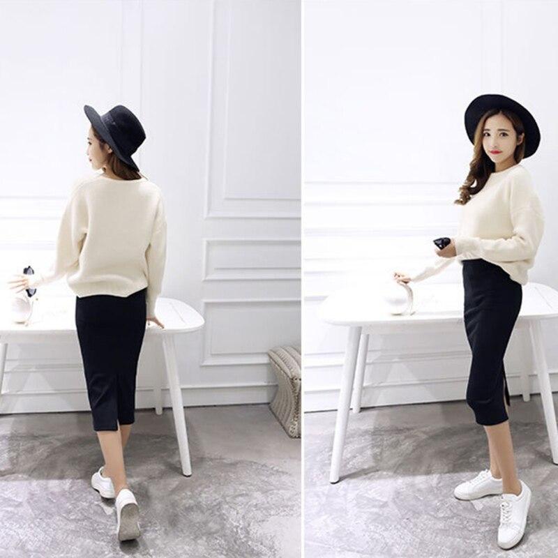 2019 Women Casual Split Pencil Skirt Calf-Length Ladies Cotton Solid Stretch Slim Ladies Summer Skirts