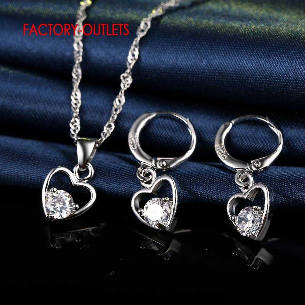 Fashion Premier Merek CINTA Jantung Pernikahan Aksesoris 925 Musim Panas Gelang Femme Kalung Anting-Anting Set