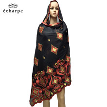 New African Women Scarfs muslim embroidery soft cotton big scarf for shawls wraps EC02(China)