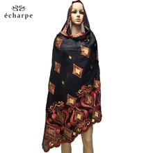 Novo africano feminino scarfs muçulmano bordado algodão macio grande cachecol para xales envolve ec02