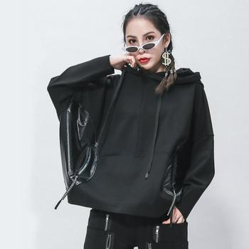 Women Batwing Sleeve Hoodies Top Base Coat Plus Size Loose Lace-up Hood Japan Ladies Hoodie Sweatshirt Black with Zip Pockets camouflage zip up furry hood down waistcoat