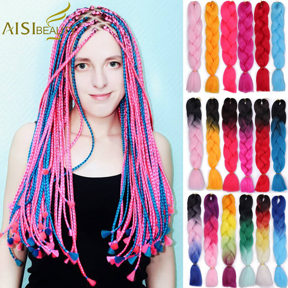 AISI BEAUTY Braiding Hair 1 Piece 24 Inch Jumbo Braids Hairstyle 100g/piece Synthetic Ombre Hair Extensions Black Brown Red Pink
