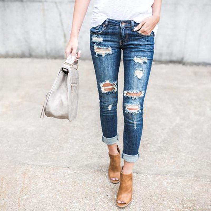 Модные узкие брюки с дырками, женские джинсы из спандекса, брюки длиной до щиколотки на молнии, повседневные джинсы 721246