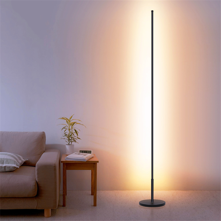 Скандинавские минималистичные светодиодные торшеры, стоячие лампы для гостиной, светодиодные черные/белые алюминиевые люминесцентные лам...