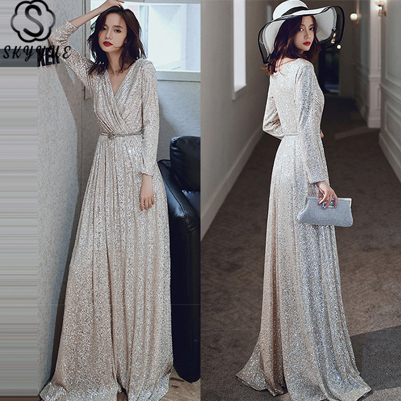 Skyyue A-Line Evening Dresses Long Sleeve Solid V-Neck Evening Dress 2020 Sequined Elegant Floor-Length Robe De Soiree K027