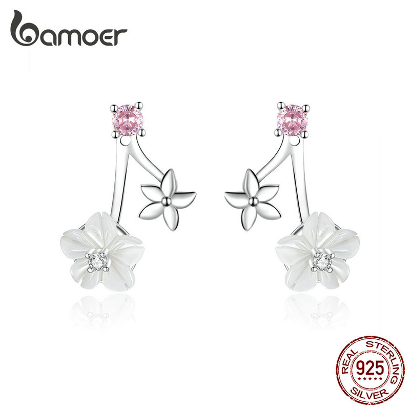 Bamoer White Pure Shell Flower Stud Earrings For Women Authentic 925 Sterling Silver Flower Korean Style Jewelry BSE218