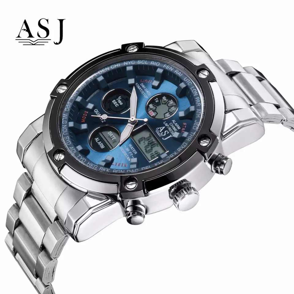 ASJ Watch Men Sport Digital Watches Men 50m Waterproof Clock Army Stainless Steel Clock Male Outdoor Swim Military Watch Relogio