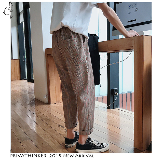 Privathinker Men Women Korean Black Plaid Casual Pants 2020 Mens Streetwear Harem Pants Male Checkered Trousers Plus Size 5
