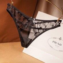 3 pièces femmes sous vêtements pour fille Sexy dentelle coton culottes dames traversant mince creux string taille basse Transparent slips livraison gratuite