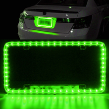 Green LED License Plate Frame Light Car Strobe Emergency Flash Warning Lamp Front Rear Universal