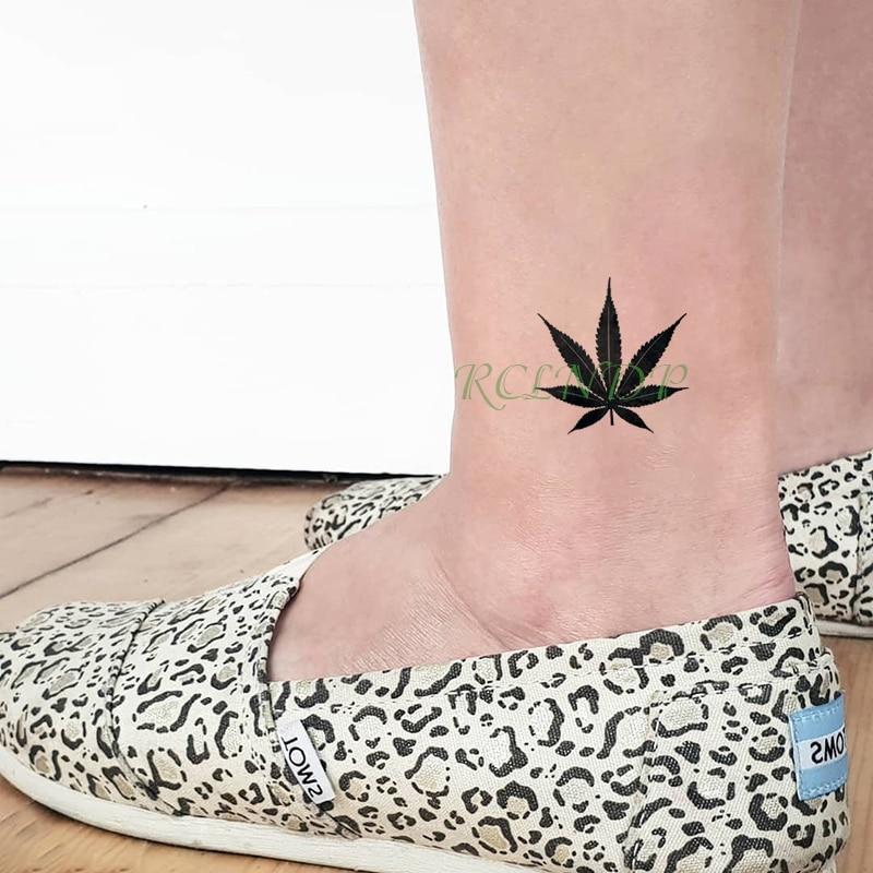 Waterproof Temporary Tattoo Sticker Black Maple Leaf Tatto Flash Tatoo Fake Body Art Wrist Foot Hand Tatouage For Girl Women Men