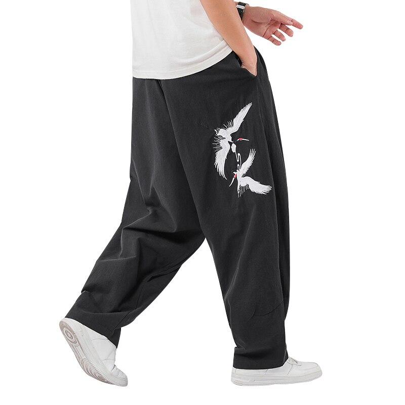 M-5XL Plus Size 2020 Brand Men Pants Hip Hop Harem Wide Leg Trousers Mens Fitness Chinese Bird Taichi Pants Sweatpants XXXXXL