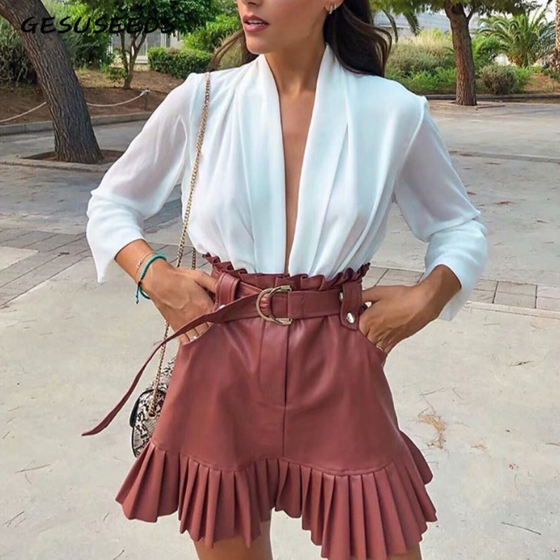 High Waisted Pleated Mini Skirt Women Black Skirts Korean Elegant Mini Skirt Female Faux Leather Skirt With Pocket