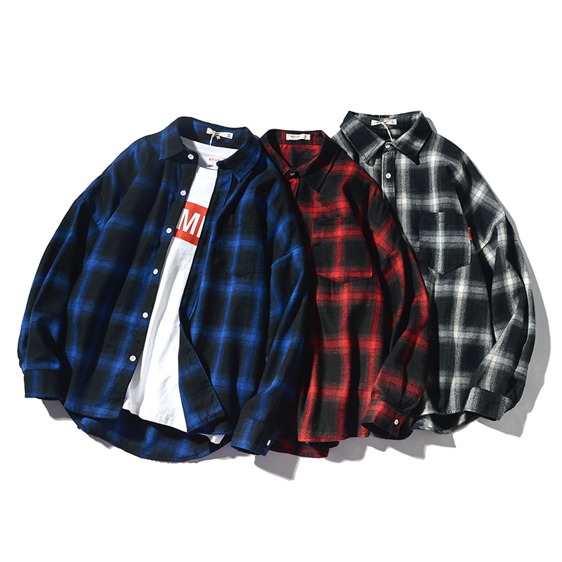Spring And Summer New Style Japanese-style Retro Plaid Shirt Men's Casual Large Size Teenager MEN'S Long-sleeved Shirt A Generat