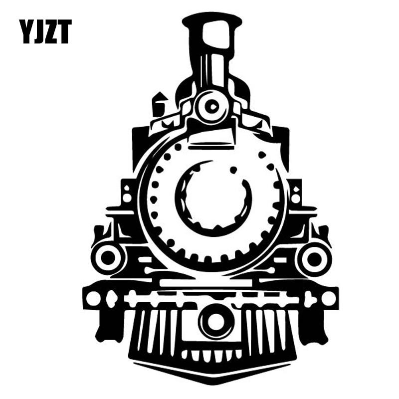 YJZT 11.4CM*16.5CM Delicate Steam Train Locomotive Exquisite Vinly Decal Cool Decor Car Sticker Black/Silver C27-0905