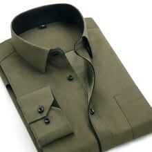 Рубашка aoliwen Мужская классическая деловая приталенная с длинным