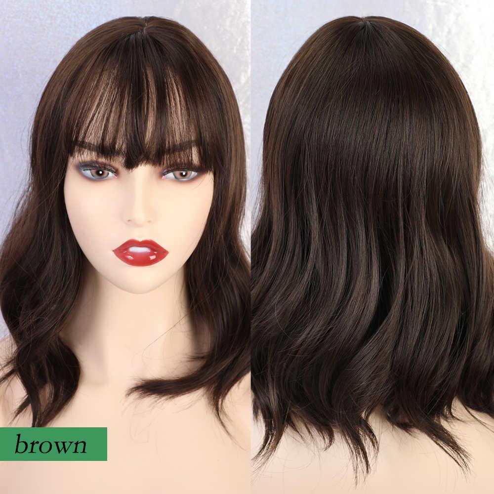 JONRENAU Lange Blonde Mixed Farbe Haar Synthetische Perücken mit Pony Schulter länge für Schwarz/Weiß Frauen Cosplay Partei Perücke