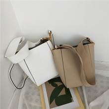 Casual Pu Bucket Bags Women Handbags Fashion Wide Shoulder Strap Shoulder Bag Ladies Simple Solid Color Messenger Crossbody Bags недорого