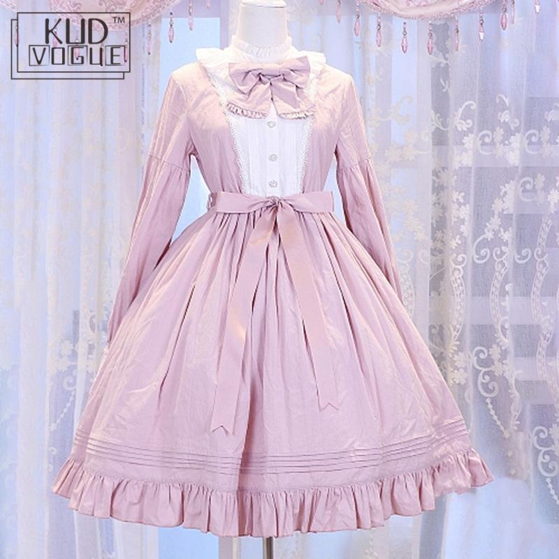 Gothic Lolita Dress Women Victorian Medieval Vintage High Waist Long Sleeve Bow Neck Princess Dress Ruffle Cute Girl Party Dress
