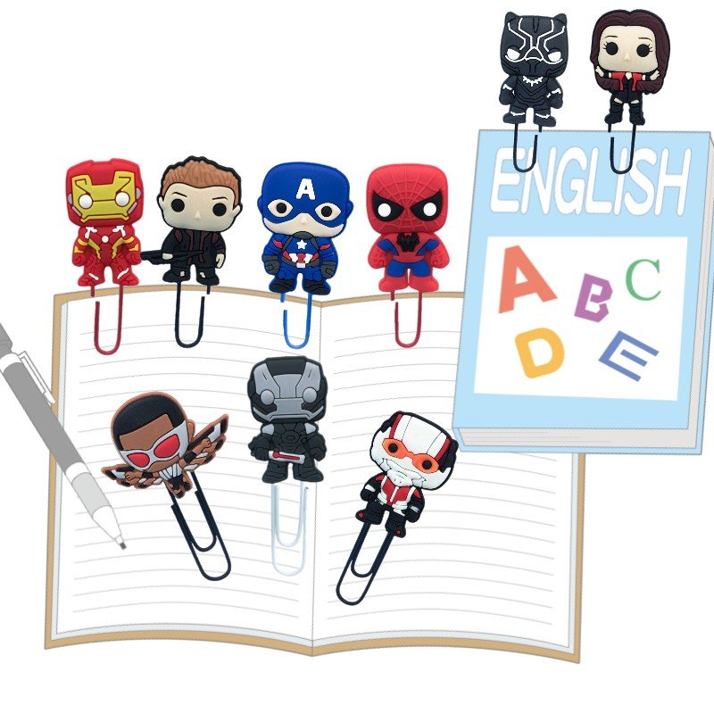 25pcs Marvel Avengers Bookmarks For Kids Paper Clips School Office Stationery Page Holder For Teacher Students Birthday Gift