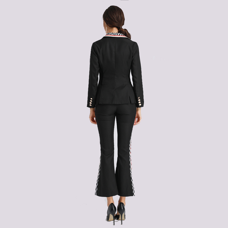 Moda Feminina Autumn 2 Piece Set Mulheres Manga Comprida Blazer +Horn Pants  Black Fake Pocket Letter Senhora Do terno Novo