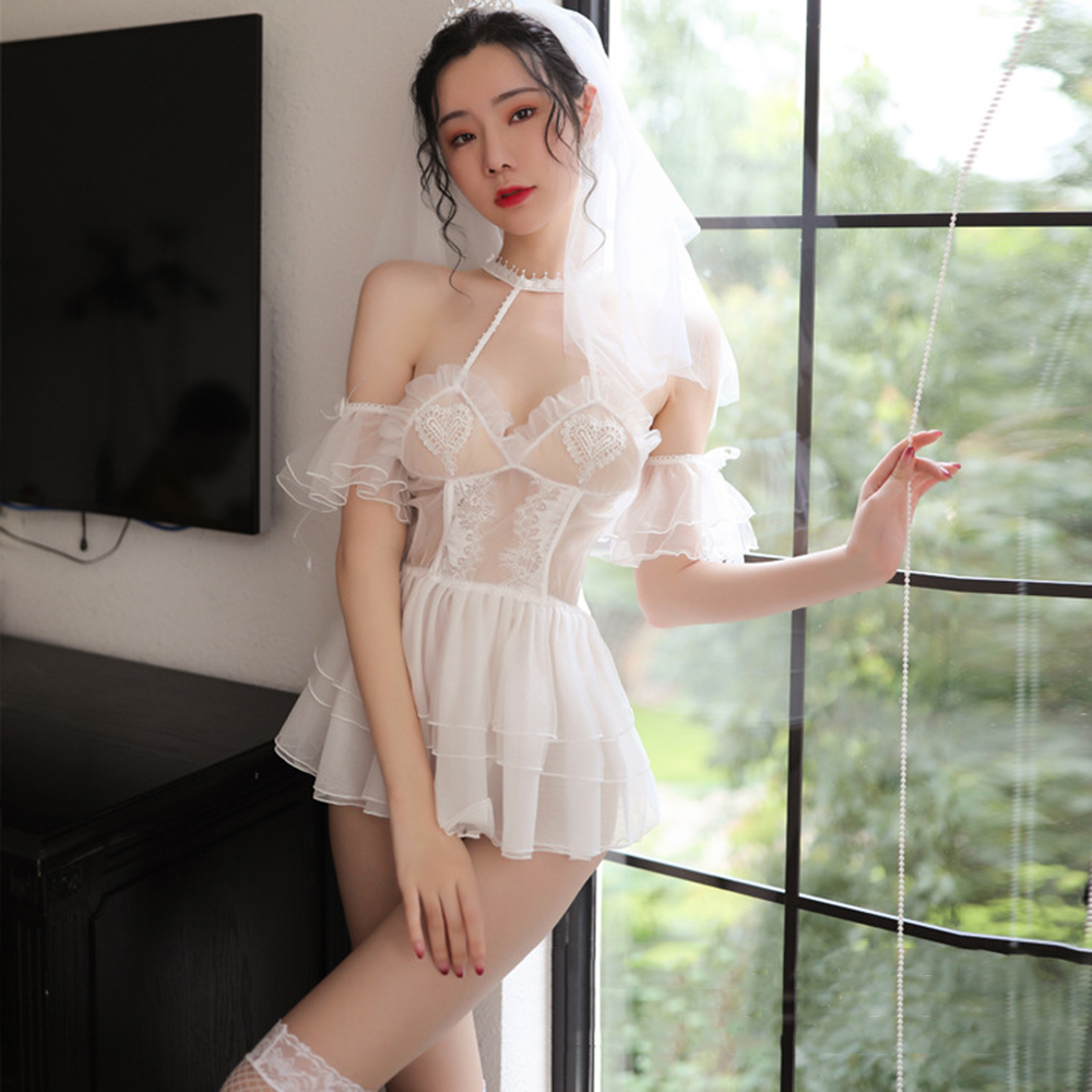 Japanese <font><b>Sexy</b></font> Girl <font><b>White</b></font> Bride <font><b>Lingerie</b></font> Cosplay Bandage Wedding <font><b>Dress</b></font> <font><b>Sexy</b></font> Hollow <font><b>Sexy</b></font> <font><b>Lingerie</b></font> Panties Suit <font><b>Babydoll</b></font> Costume image