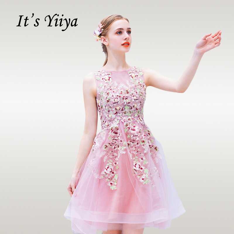 It's Yiiya   Cocktail     Dress   Elegant Pink Flowers   Cocktail     Dresses   O-neck Sleeveless Short Plus Size Robe   Cocktail   Gowns E610