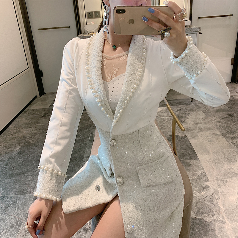 Small Fragrance   Trench   Coat Women Fashion Beaded Slim Windbreaker Suit Coat Lady's Temperament Long   Trenches   Ropa Mujer
