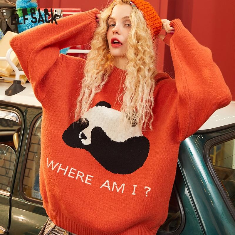 ELFSACK Blue Solid Panda Print Korean Knit Women Pullover Sweaters 2020 Winter Orange Long Sleeve Casual Office Ladies Cute Top