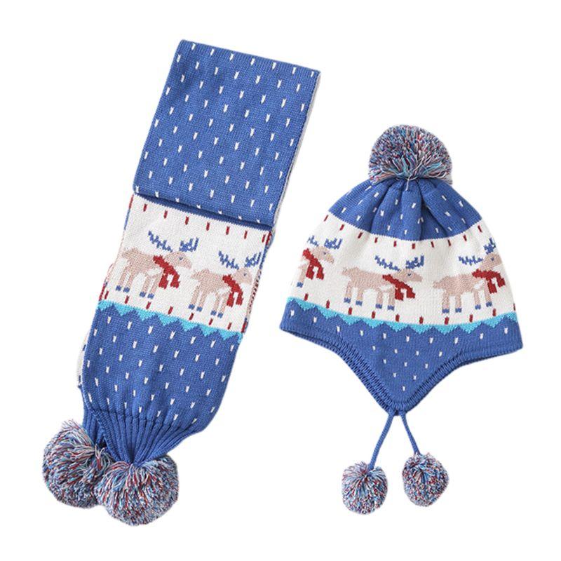 Toddler Kids Winter Reindeer Jacquard Beanie Cap Scarf Pompom Earflap Cap Warmer