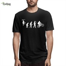 Funny Mountain Biking Evolution Camiseta Hipster Male New Arrival Summer Round Collar For