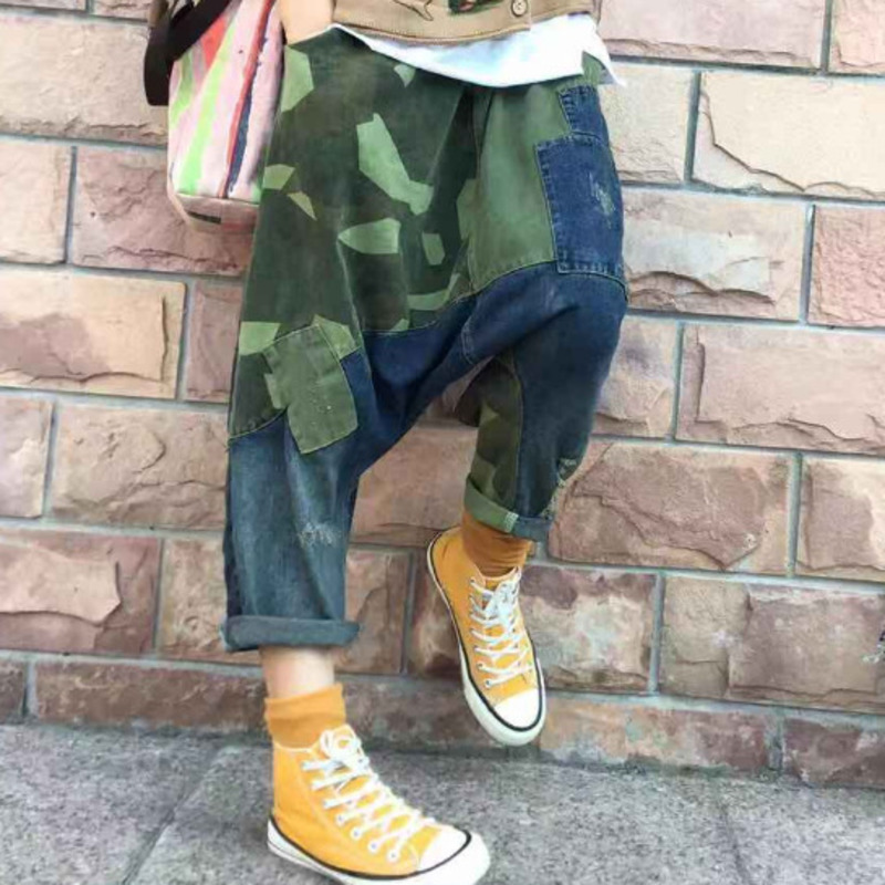 Women Baggy Low Crotch Denim Pants Camouflage Patchwork Wide Leg   jeans   hip hop cowboy Harem Trousers Boyfriend Bloomers Joggers