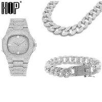 Серебряное ожерелье + часы + браслет в стиле хип-хоп, кантри, кубинская цепочка, золото, полностью покрытые льдом, проложили стразы, CZ Bling, для ...