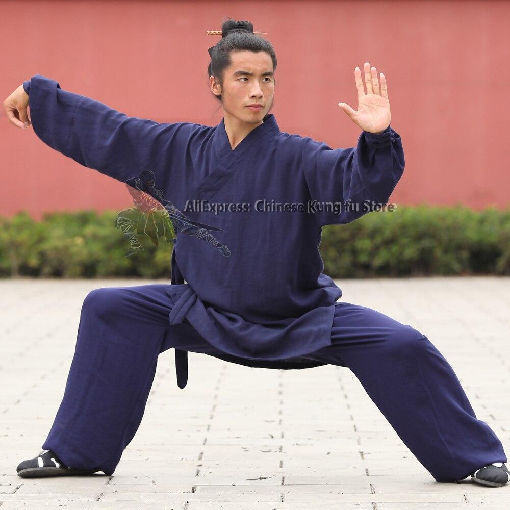 Wudang даосский халат Стиль Тай Чи Униформа Боевые искусства кунг-фу костюм шаолин монах халат и брюки высокое качество Лен 25 цветов