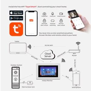 Image 3 - Видеодомофон, 7 дюймов, домофон wifi, IP, беспроводной дверной звонок, колонка, система контроля доступа, сенсорный экран, обнаружение движения