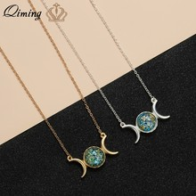 QIMING Triple Mond Göttin Halskette Für Frauen Kristall Stein Globus Erde Ketten Charme Crescent Moon Anhänger Halskette Geschenk