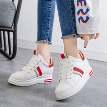 Hidden Heel 6CM White Shoes Sneakers Plateforme Wedge Sneakers Lace Up Ladies Trainers Chunky Sneakers Woman Vulcanized Shoes cloth camouflage lace up hidden heel womens sneakers