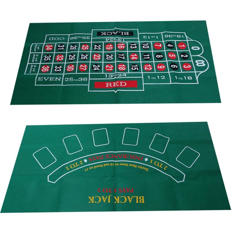 Double-sided Game Tablecloth Russian Roulette & Blackjack Gambling Table Mat NEW