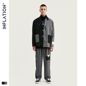 Image 1 - INFLATION DESIGN Oversized Mens Casual Blazer Loose Fit Oversized Men Blazer Spliced Blazer Black Grey Terno Masculino Blazers