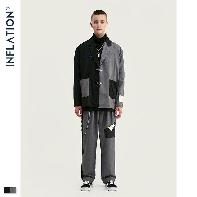INFLATION DESIGN Oversized Mens Casual Blazer Loose Fit Oversized Men Blazer Spliced Blazer Black Grey Terno Masculino Blazers
