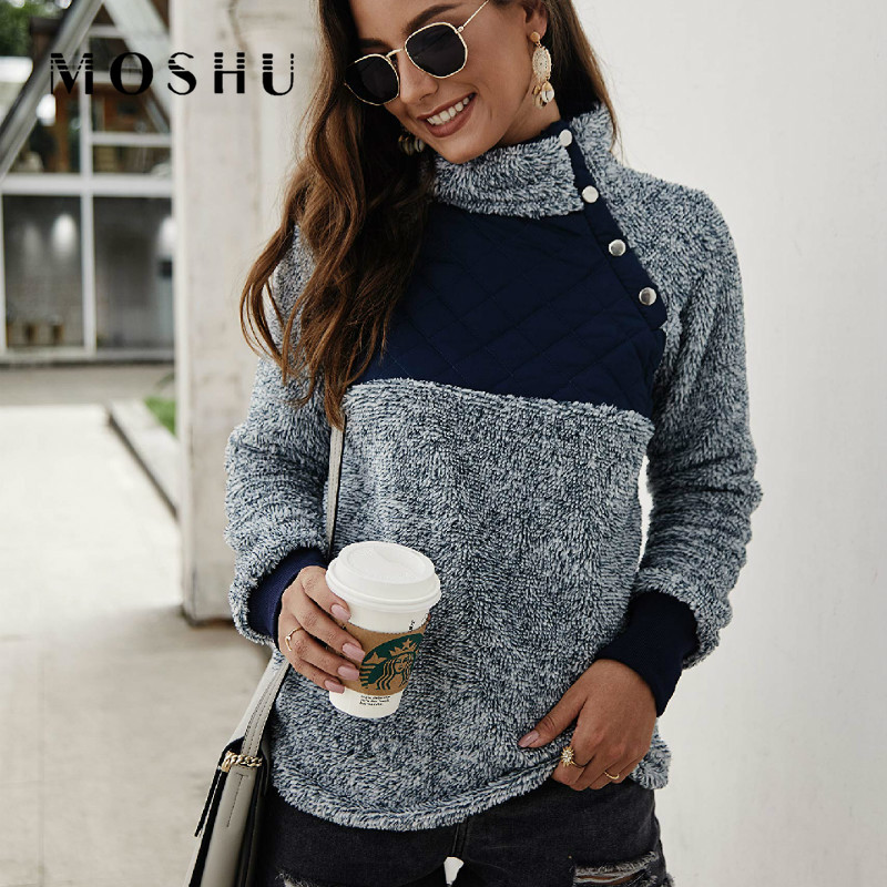 Sweatshirts Hoodies For Women Long Sleeve Fleece Female Streetwear Winter Patchwork Warm Plush Turtleneck Top Sudadera Mujer