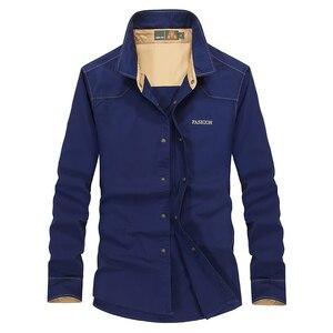 Man Shirts Blouse Men off blue fall 2020 trend Military Style shirt outfits shirt in pants casual shirt men 6891(China)