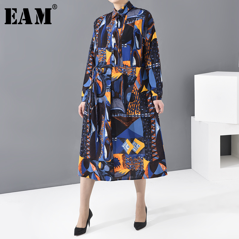 [EAM] Women Blue Pattern Printed Big Size Shirt Dress New Lapel Long Sleeve Loose Fit Fashion Tide Spring Autumn 2020 JI48505